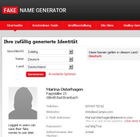 Namen zufällig generieren - Fake Name Generator